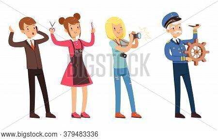 Children Of Various Professions Set, Businessman, Captain, Photographer, Hairdresser Characters Cart