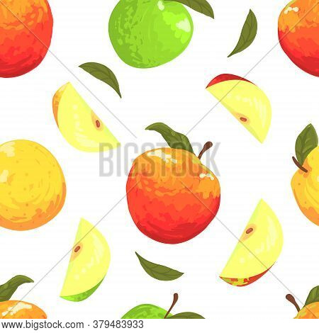 Fresh Apples Seamless Pattern, Freshly Harvested Fruits Endless Repeating Print For Fabric, Wrapping