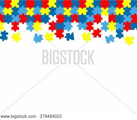 Colorful Autism Awareness Puzzle Background. Autism Card