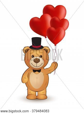 Funny Cartoon Teddy Bear With Heart Balloons. Vector Illustration For Valentine's Greeting Card