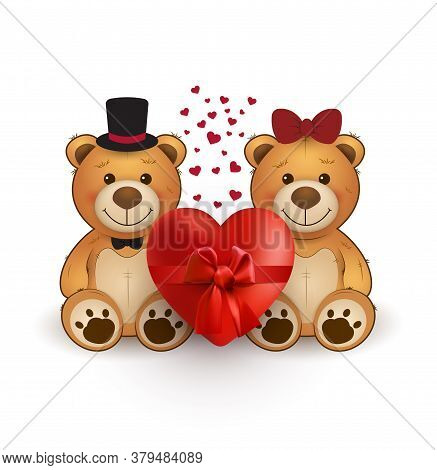 Cute Two Teddy Bears In Love With Realistic Heart. Valentine's Illustration