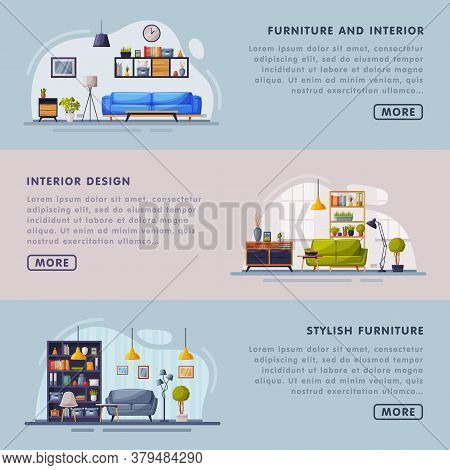 Interior And Stylish Furniture Design Landing Page Templates Set, Cozy Apartments Space, Comfy Furni