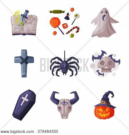 Halloween Symbols Collection, Holiday Party Design Elements, Spider, Pumpkin, Cross, Magic Book, Buf