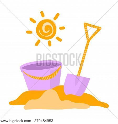 Vector Illustration Of A Mountain Of Sand, A Shovel And A Baby Bucket. Game For Children On The Beac