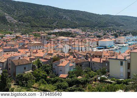 Panoramic View Of Cres Town On Island Of Cres, Adriatic Sea, Croatia, Europe