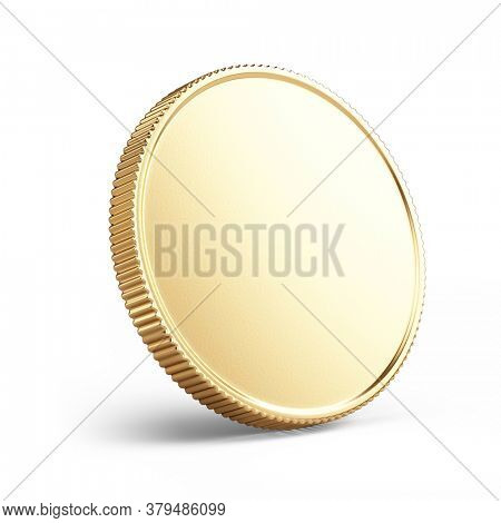 Banking, coin concept. Blank Golden coin isolated on white - 3d rendering mockup template