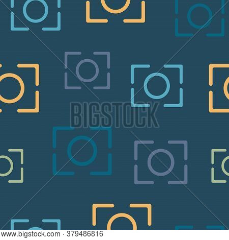 Seamless Pattern On The Theme Of World Photography Day On August 19. Decorated Photography Icon.