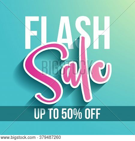 Flash Sale - Banner With Paper Cut Sale Word And Up To 50% Off Text, Flyer, Invitation, Poster, Web