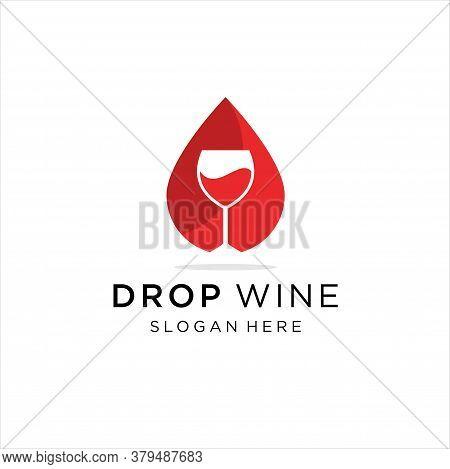 Wine Glass Drop Shape Concept Icon Vector Logo. Wine Glass Logo Design Inspiration