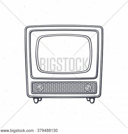 Analogue Retro Tv With Wooden Body, Signal And Channel Selector. Outline. Vector Illustration. Vinta