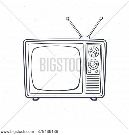Analogue Retro Tv With Antenna, Channel And Signal Selector. Outline. Vector Illustration. Televisio