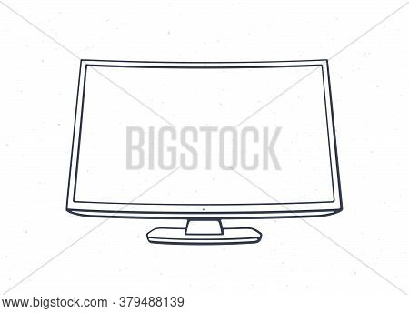 Modern Digital Smart Tv With Full Ultra Hd Display. Outline. Vector Illustration. Television Box Wit