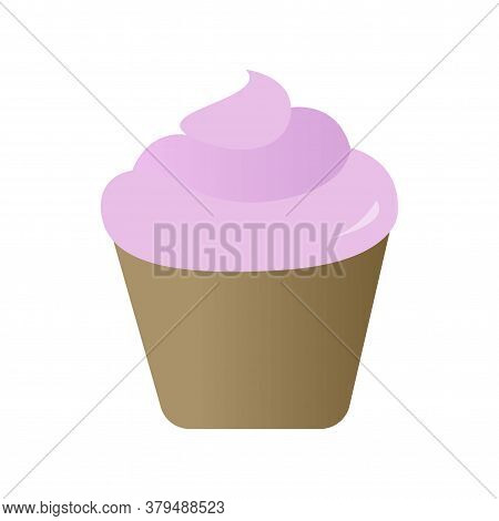 Cupcake With Cream. Pink Cupcake In Flat Style Vector Illustration