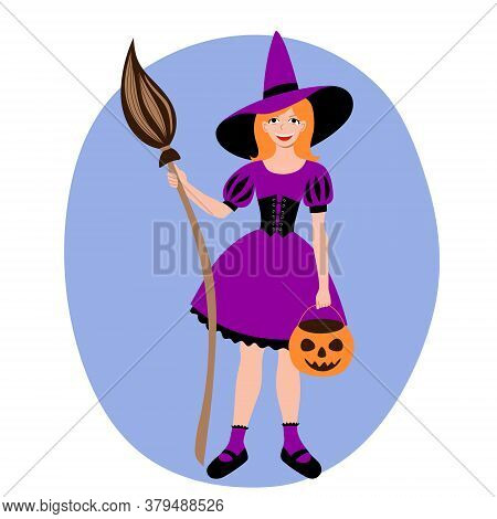 A Red Haired Girl Dressed As A Witch At A Halloween Carnival Party. Masquerade Costume Pointed Hat B