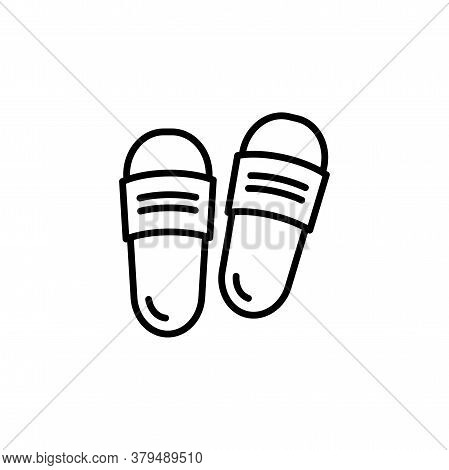 Slipper Linear Vector Icon. Flip Flops Line Thin Sign. Beach Sneakers Outline Symbol. Home Shoes Sim