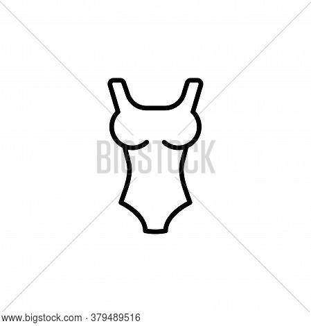 Women Swimsuit Linear Vector Icon. Women Swimwear Line Thin Sign. Swimsuit Outline Symbol. Female Sw