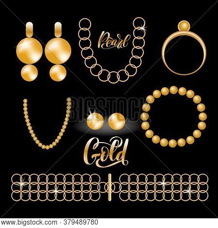 Pearl Jewelry Vector Collection - Necklace, Earrings, Ring