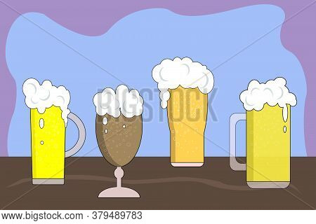 Vector Illustration Glass With Different Types Of Beer In A Pint, Arranged In A Row. Close Up Of Dif