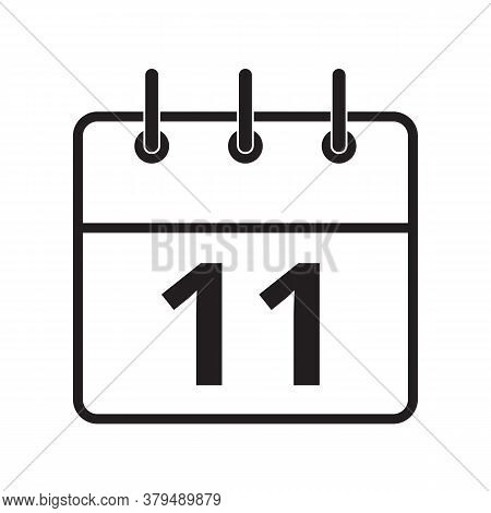 Line Icon The Eleventh Day On The Calendar Isolated On White Background. Vector Illustration.