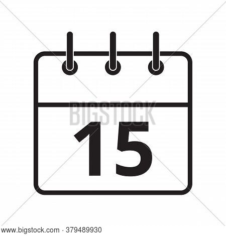 Line Icon The Fifteenth Day On The Calendar Isolated On White Background. Vector Illustration.