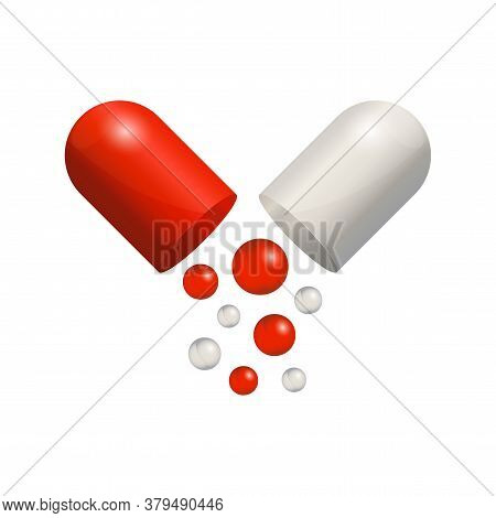 Capsule Icon 3d Realistic, Red Pill Isolated On White Background. Colored Small Balls Falling Of Ope