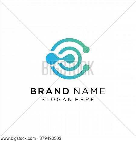 Abstract Letter C Logo Design Template,technology Abstract Dot Connection Cross Vector Logo Icon Cir