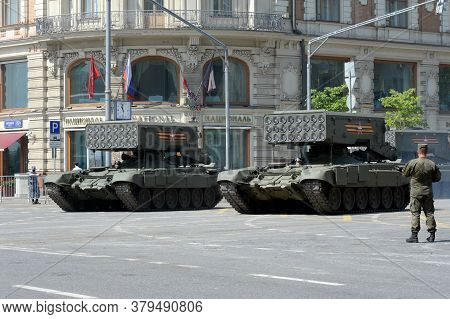Moscow, Russia - June 20, 2020:tos-1a `solntsepek` - Heavy Multiple Rocket Launcher System On Tversk