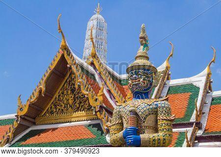 Closeup Of One Of The Yaksha (giants) Statue Named Wirunhok Guarding The Emerald Buddha (wat Phra Ka