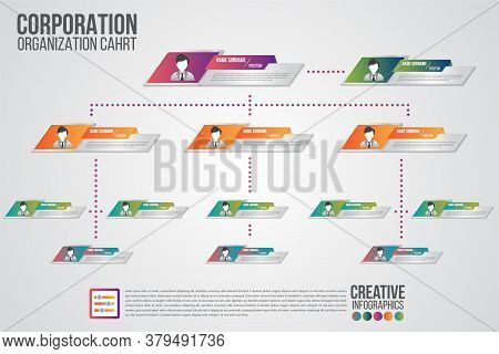 Corporate Organization Chart Template With Business People Icons. Vector Modern Infographics And Sim