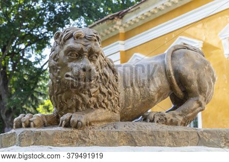 Ancient Sculpture Of A Laughing Lion Close Up In Palace And Park Ensemble In Village Samchyky. Khmel