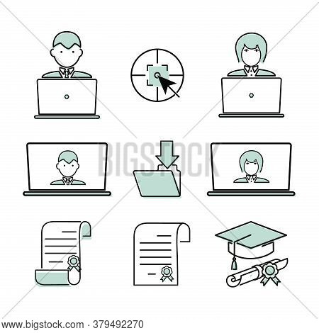 Online Learning. Line Icon. Set Vector Line Symbols. Outline Icons For Internet And Online Education