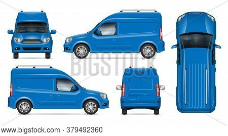 Delivery Blue Van Vector Mockup For Vehicle Branding, Advertising, Corporate Identity. Isolated Temp