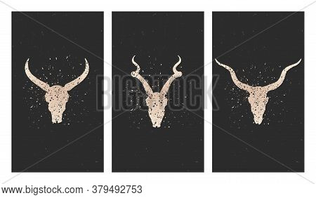 Vector Set Of Three Illustrations With Gold Silhouettes Skulls Antelope, Wild Buffalo And Grunge Ele