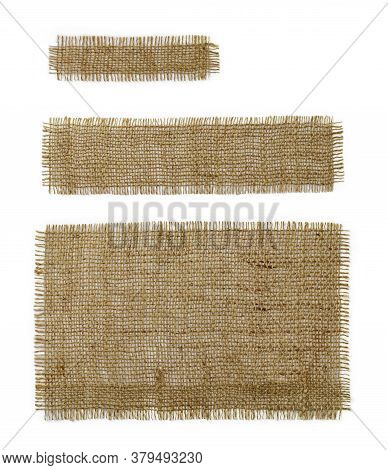 Three Burlap Rectangular And Oblong Pieces Isolated On White Background. Natural Color Sackcloth Pat
