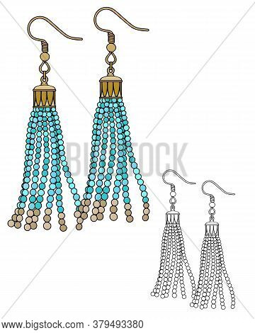 Handmade Jewelry In Ethnic Style: Long Beaded Earrings. Vector Illustration Isolated On A White Back