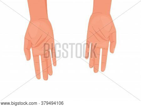 Help Offer Concept Background Isolated On White. Outstretched Hands In A Gesture Of Offering Assista