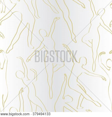 Vector Ballet Dancers In Gold Outlines On Gray White Ombre Seamless Repeat Pattern. Background For T