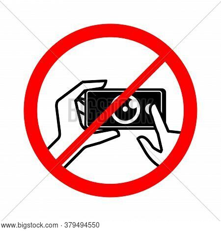 No Photo Sign - Forbidden Symbol For Protected Public Places With Prohibition Of Photography - Cross