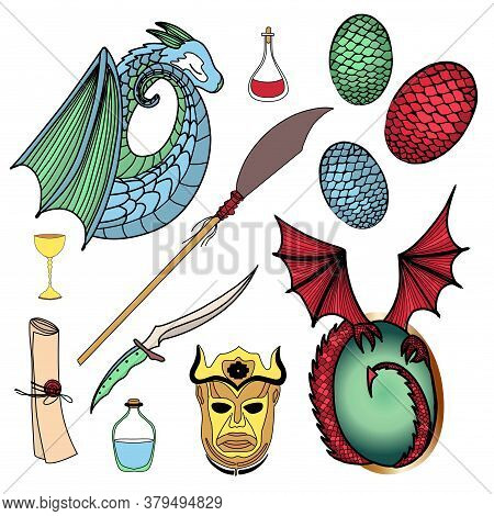 Vector Set Of Magic Icons. Dragon, Dragon Eggs, Magic Potion, Harpy Mask. Halberd And Obsidian Dagge