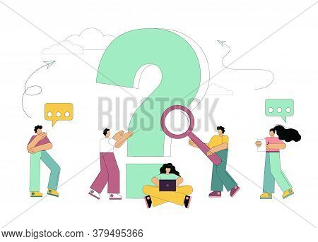 Concept Of People Frequently Asked Questions Around A Question Mark. Question. Vector Illustration O