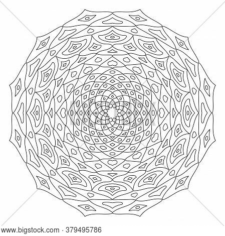 Outline Round Mandala Ornament Isolated On White Background. Circular Oriental Pattern For Tattoo, W