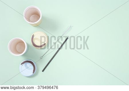 Reusable Plastic Free And Eco Friendly Utensils. Metal Drinking Straws, Bamboo Coffee Cup. Zero Wast