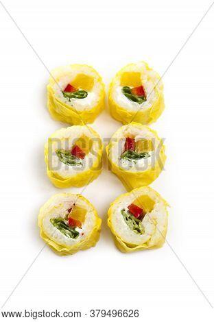 Yellow Maki Sushi Rolls Isolated On White Background