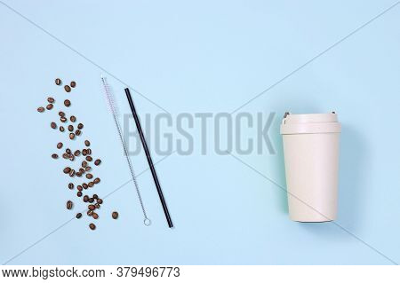 Reusable Plastic Free And Eco Friendly Utensils. Metal Drinking Straws, Bamboo Coffee Cup With Roast