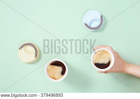Reusable Eco Coffee Cup. Zero Waste Concept, Flat Lay. Ban Single Use Plastic. Take Away Big Mug For