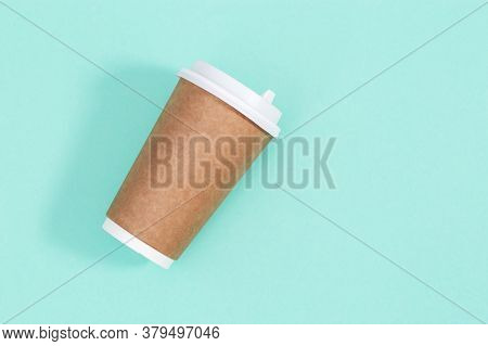Blank Craft Take Away Big Paper Cup For Coffee Or Drinks, Packaging Template Mock Up On Mint Colored