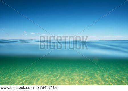Sea Water Surface With Underwater Deep Space