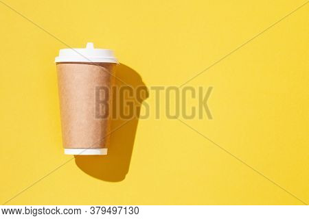 Blank Craft Take Away Big Paper Cup For Coffee Or Drinks, Packaging Template Mock Up On Yellow Color