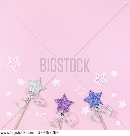 Holiday Background With Bright Stars And Paper Festive Decor. Concept Of Children Girl Birthday Part
