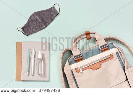Backpack With School Supplies, Face Mask And Hand Sanitizer, Schoolboy Badge, Copybooks, Pens On Neo